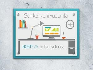 hosteva mavi duvar çerçeveli mockup tasarımı